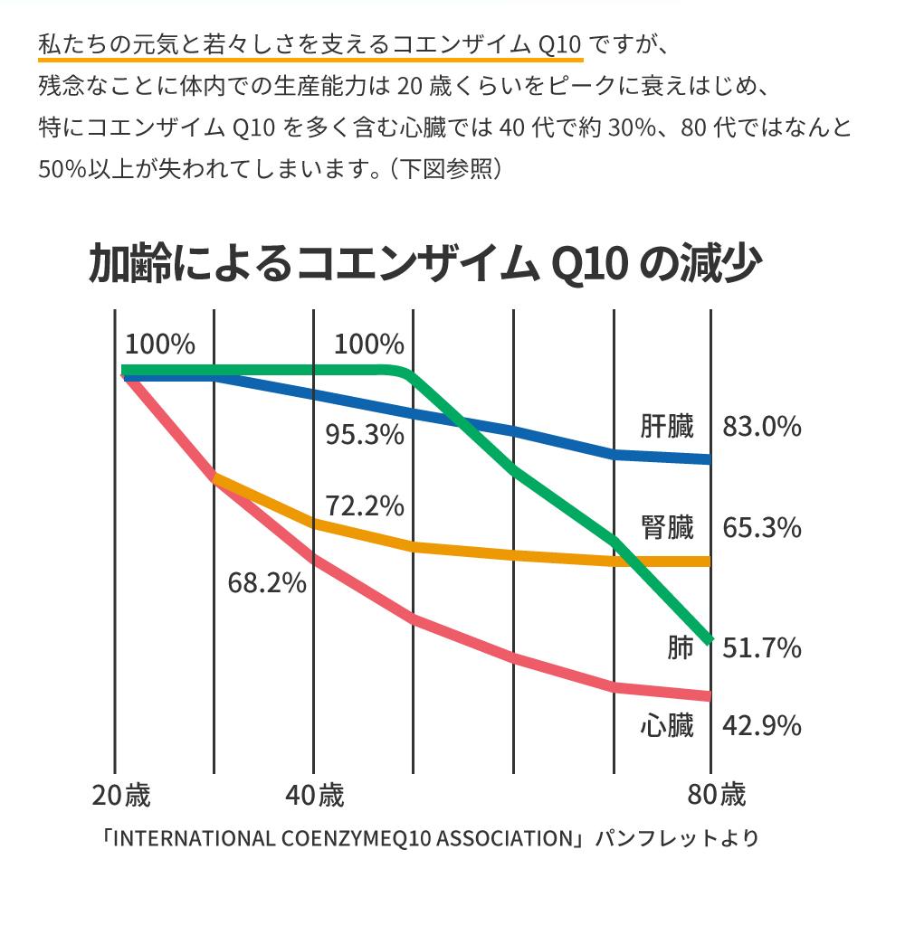 コエンザイムQ10の体内量の低下の表